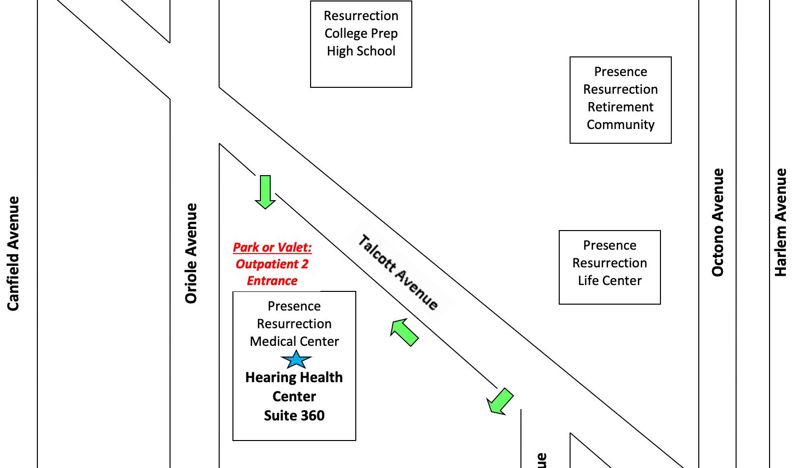 Hearing Health Center Park Ridge Location Map